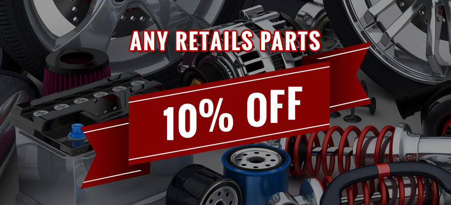 10% OFF ANY RETAIL PARTS PURCHASE WITH COUPON