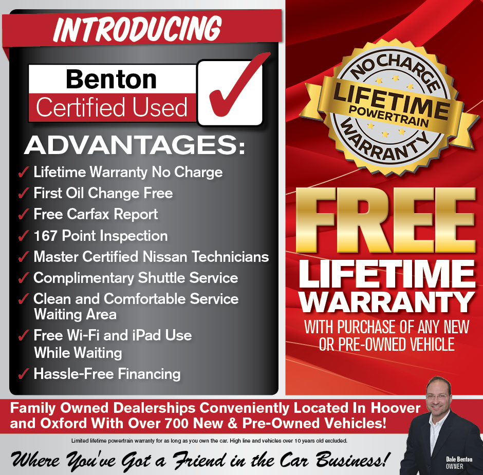 Free Lifetime warranty with purchase of any new or pre-owned vehicle.