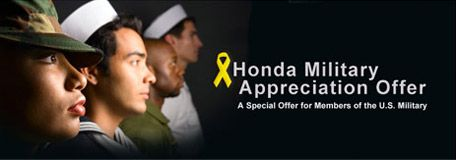Honda Military appreciation offer for Members of the US Military