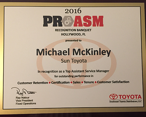 Michael McKinley wins 2016 PRO ASM for Toyota's SE Region