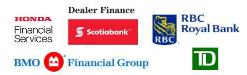 Honda Financial Services supported by Dealer Finance, Scotiabank, RBC Royal Bank, BMO Financial Group, and TD