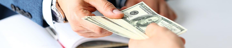 Customer reciving cash