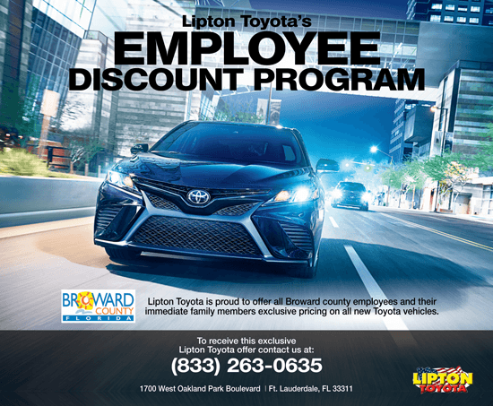 Lipton Toyota Employee Discount Program in Broward County
