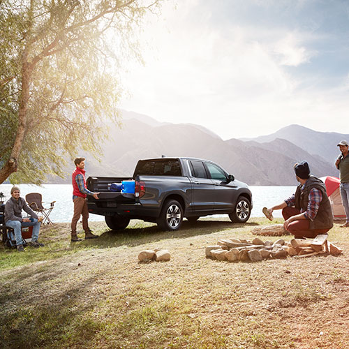 Friends camping with their 2018 Honda Ridgeline
