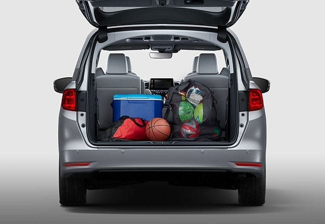 Rear view of storage space in 2018 Honda Odyssey