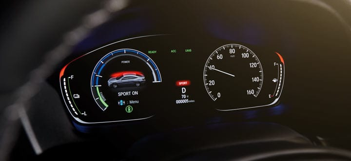 Dashboard with meters showing readings