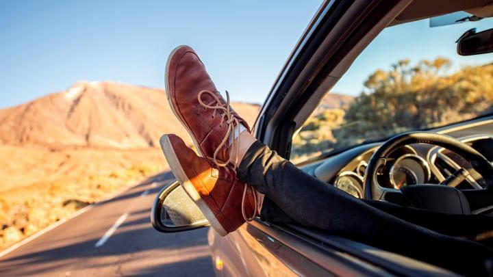 Feet Hanging outside car window
