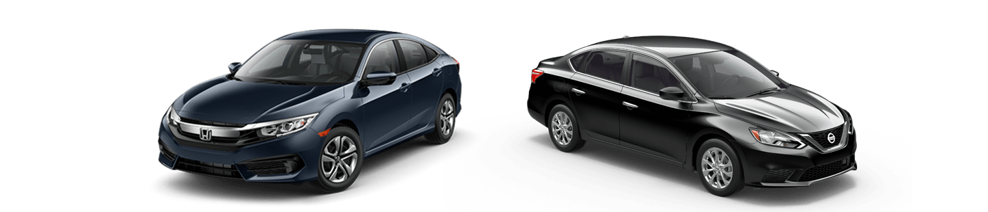 Blue 2018 honda civic and black 2018 nissan sentra side by side