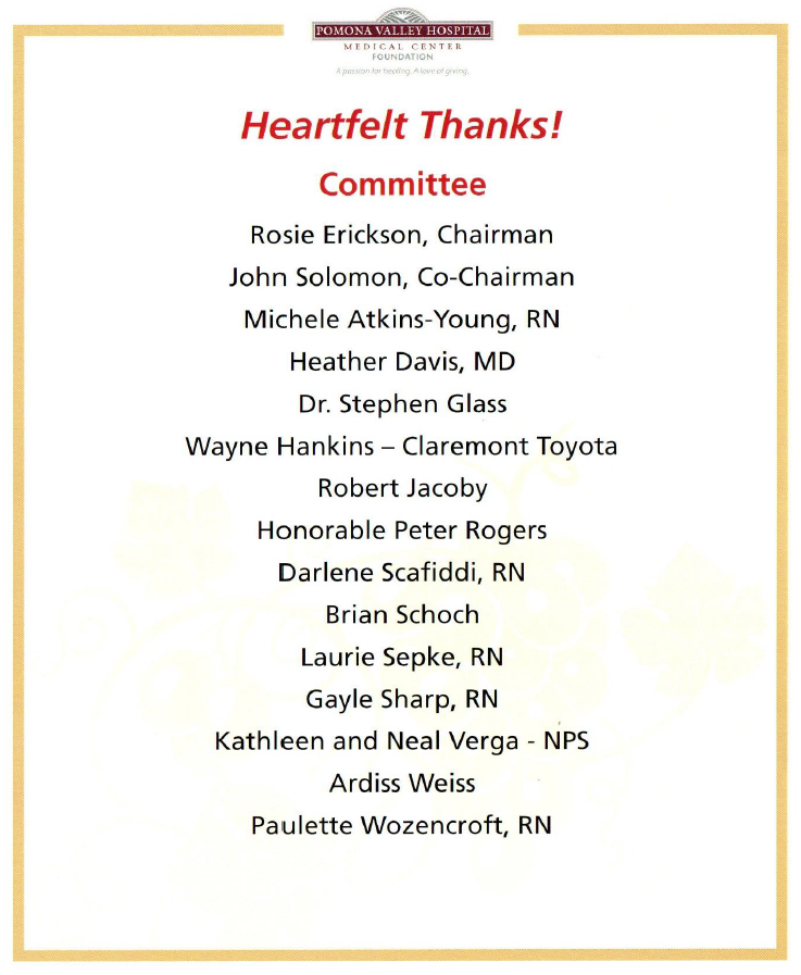 Heartfelt Thanks: Committe
