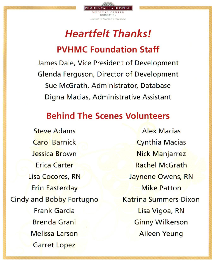 Heartfelt Thanks: PVHMC Foundation Staff & Volunteers