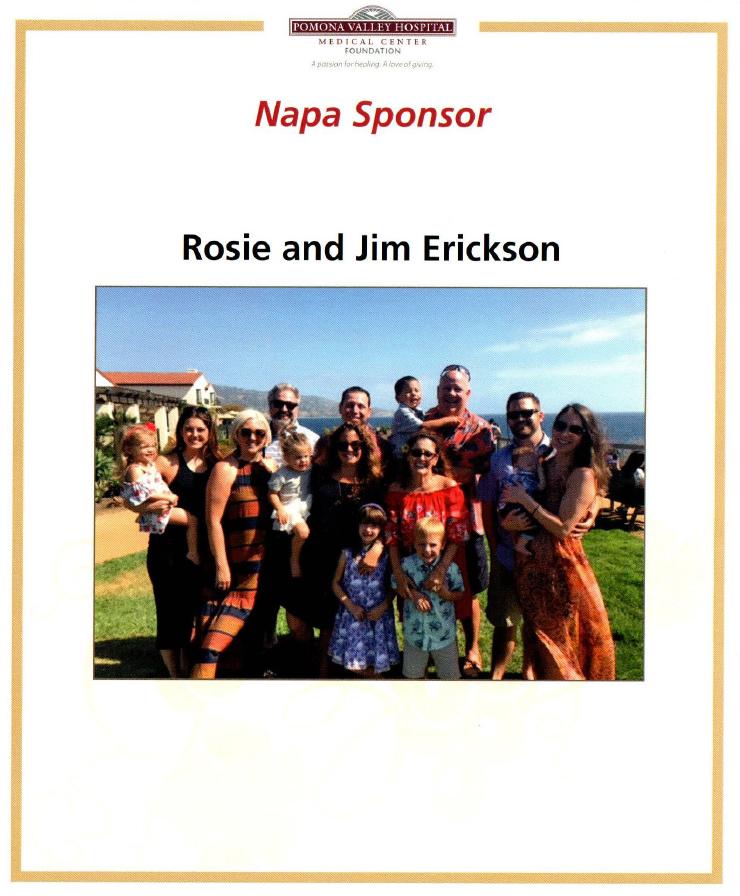 Napa Sponsor: Rosie and Jim Erickson