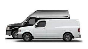 Black Nissan NV Cargo work van next to a smaller white Nissan NV Cargo work van