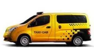 Yellow Nissan NV200 Taxi work van