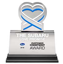 Subaru Stellar Care and Love Promise Customer Commitment Award: 2014, 2016, 2017, 2018