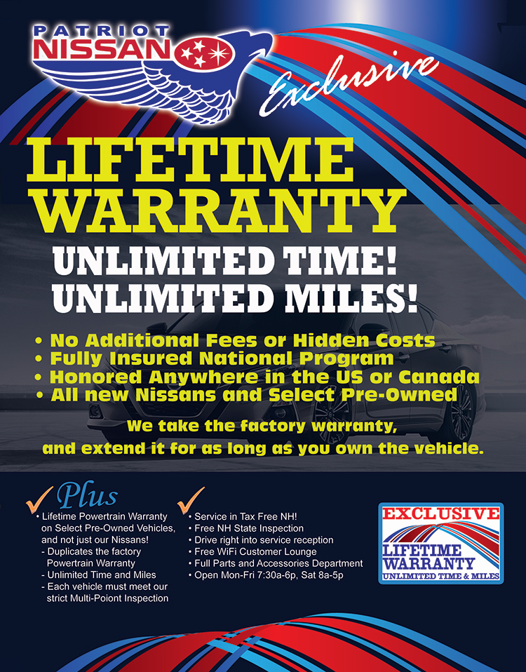 Patriot Nissan Exclusive Lifetime Warranty