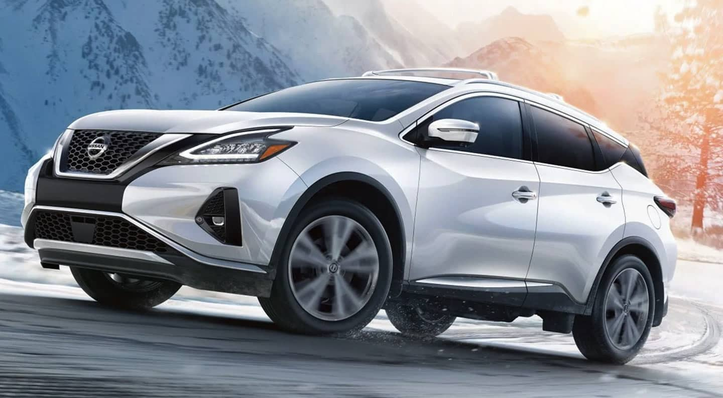 2020 Nissan Murano in white in the snow