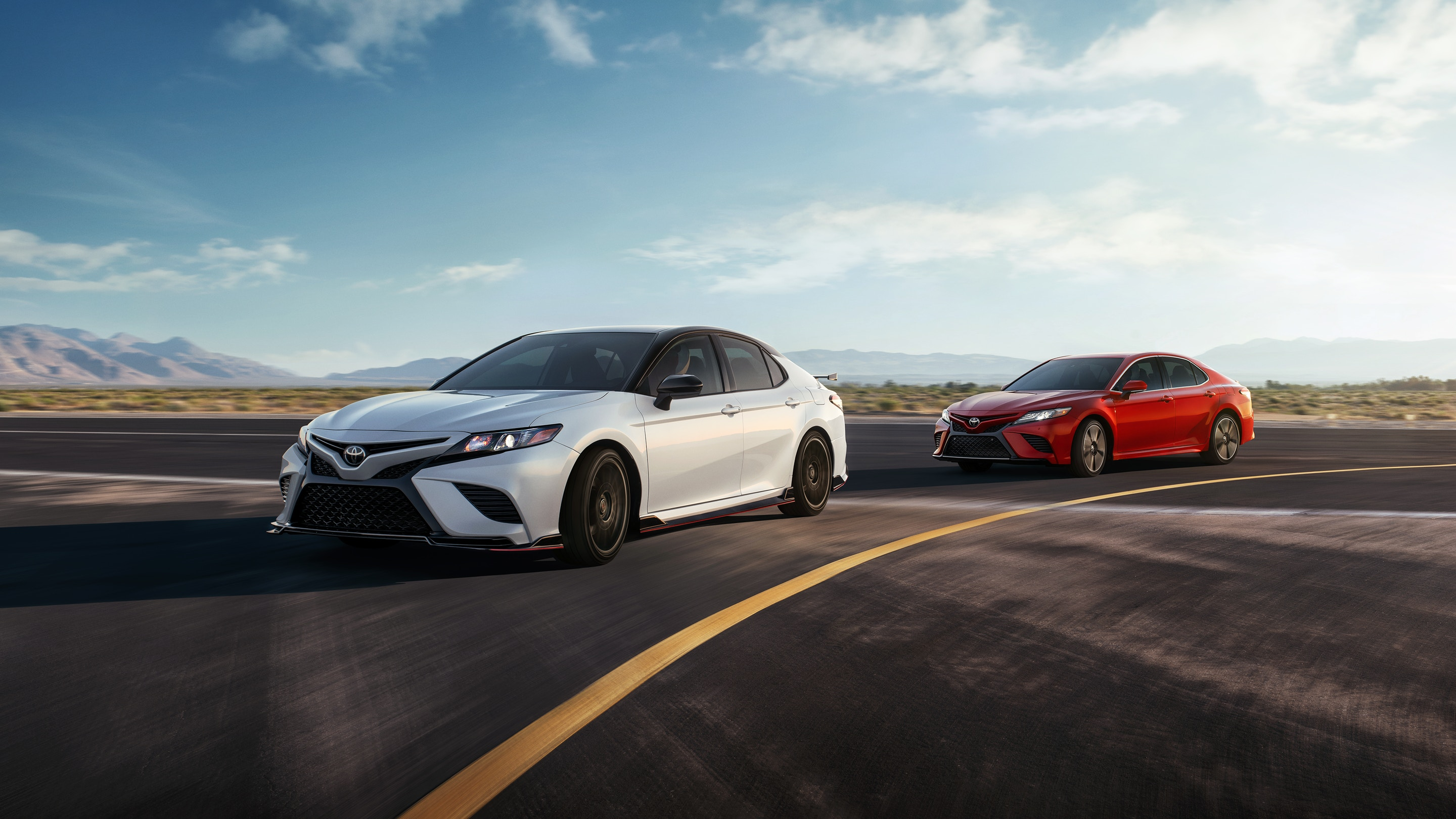 White and red 2020 Toyota Camry available now at Toyota Chula Vista
