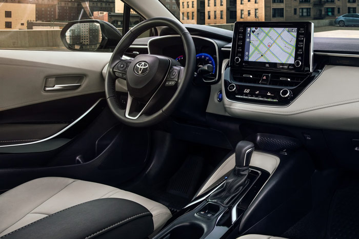 Interior of Toyota Corolla Hybrid