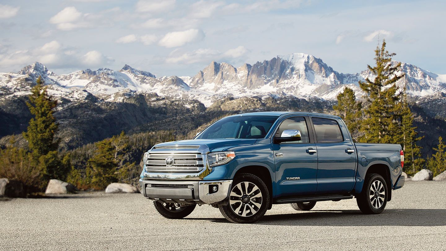 blue 2020 Tundra in front of mountains