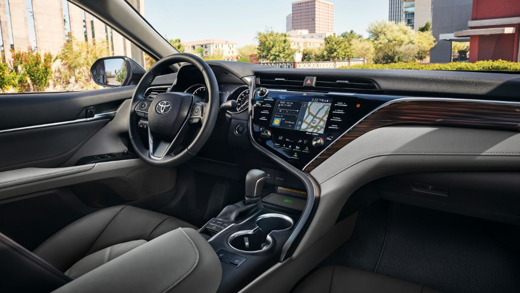 2020 Toyota Camry interior with fabric seats. Available now at Toyota Chula Vista