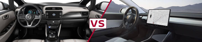 Premier Nissan of Metairie 2020 Nissan Leaf Vs Model 3 Interior Views