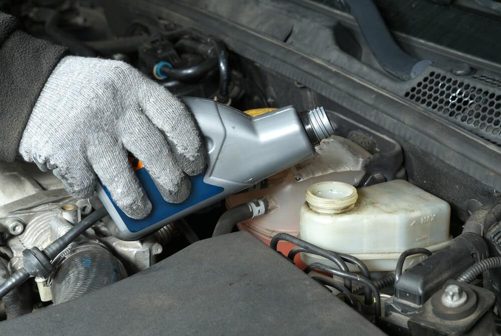 Pouring Brake Fluid