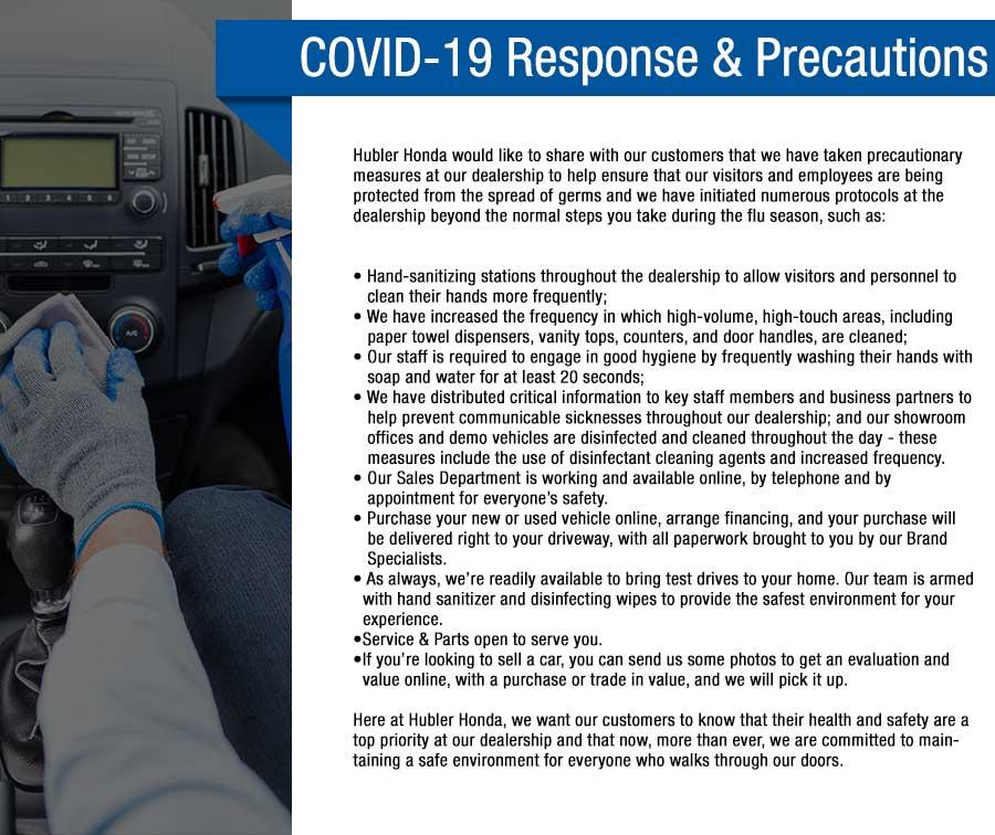 Hubler Honda Covid-19 Response & Precautions