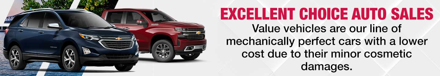 excellent choice auto sales value vehicles are our line of mechanically perfect cars with a lower cost due to their minor cosmetic damage