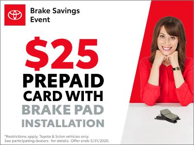 $25 Prepaid Card with Brake Pad