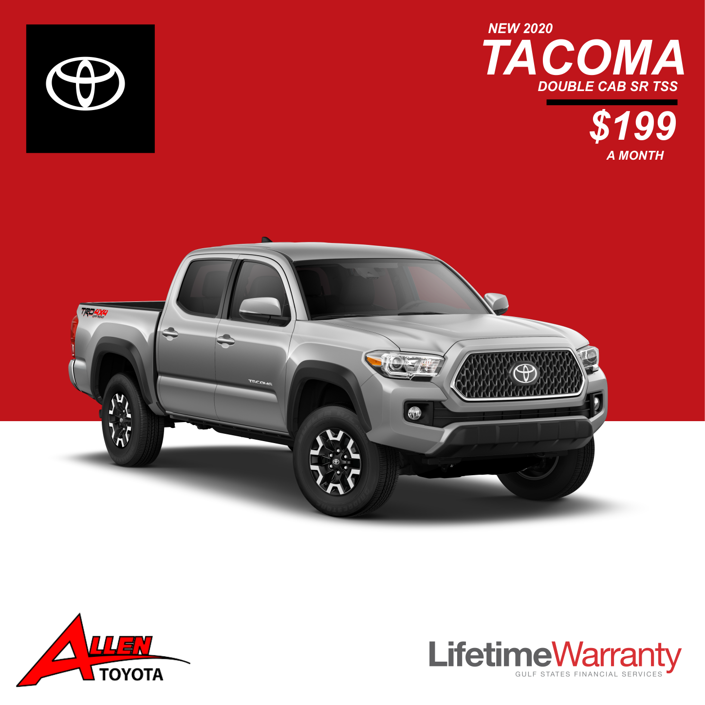 Get a great lease on a new 2020 Tacoma!