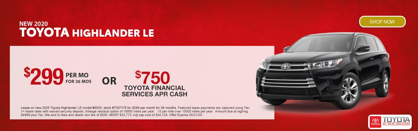 2020 Toyota Highlander Lease