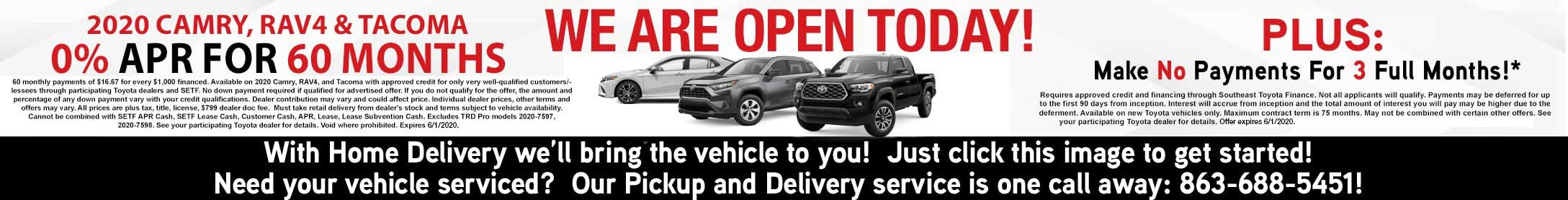 We are open today! Click here to go to showroom