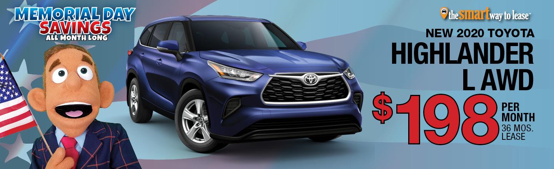 2020 Toyota Highlander L AWD for $198 per mo