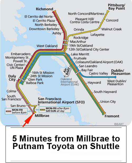 To our dealership by BART