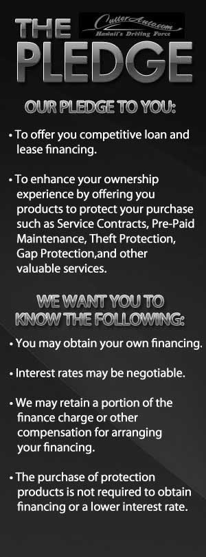 We pledge to offer competitive loan and lease financing.