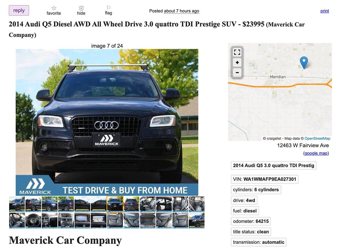 An example Craigslist ad.