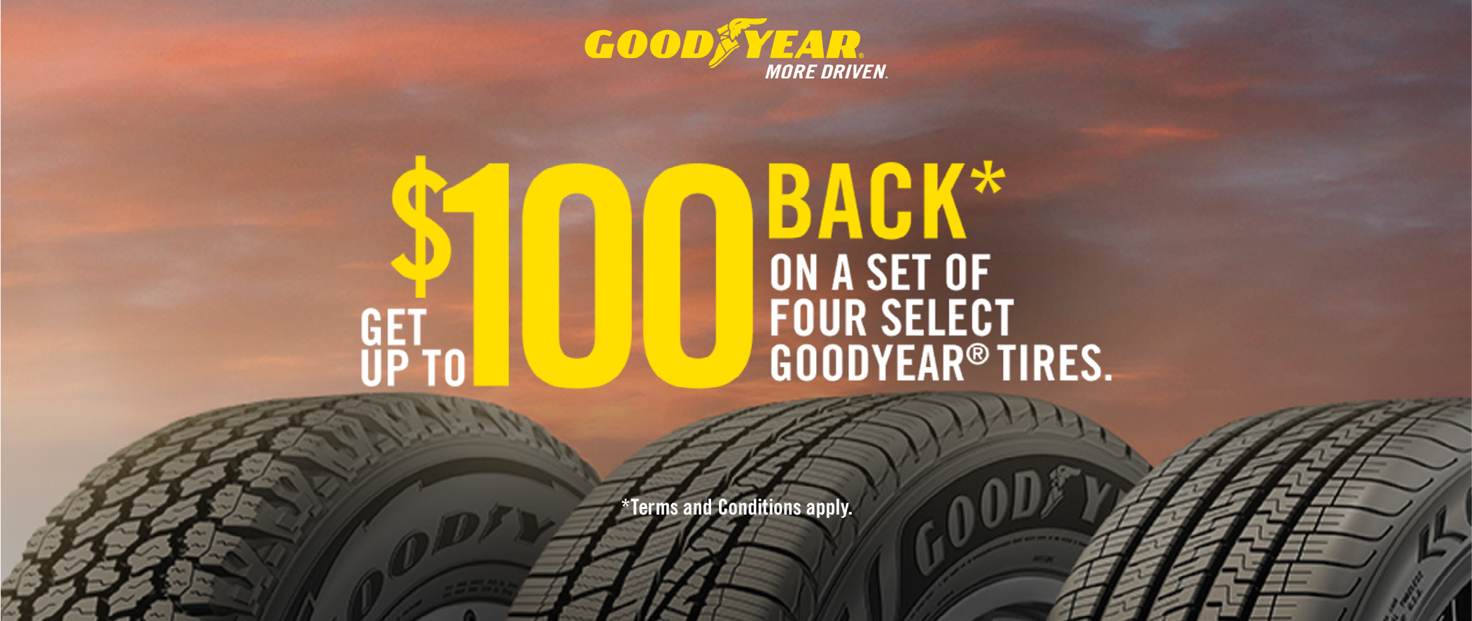 Get Up To $100 Back* Goodyear Tires
