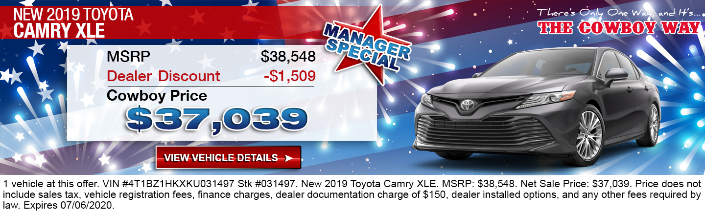 $37,039 Purchase Offer On A New 2019 Toyota Camry XLE