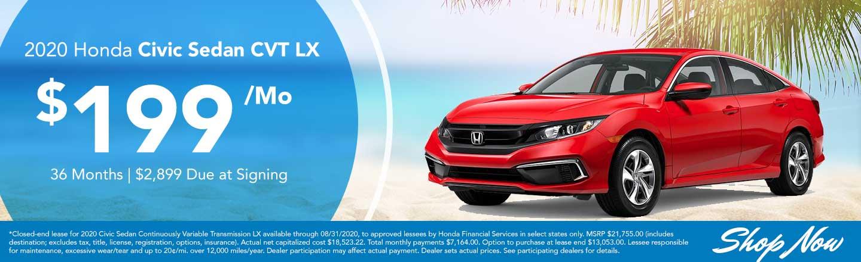 2020 Civic Sedan CVT LX Lease Offer