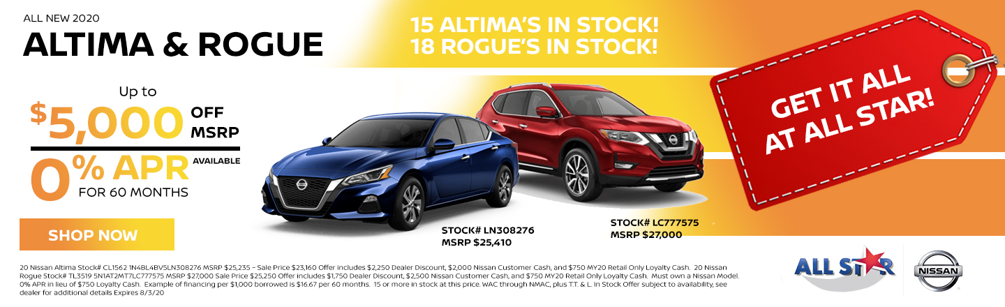 Nissan Altima and Rogue