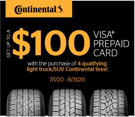 Receive up to a $100 Continental Tire Visa