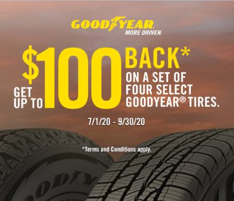 Goodyear Tires Get up to $100 Prepaid Card