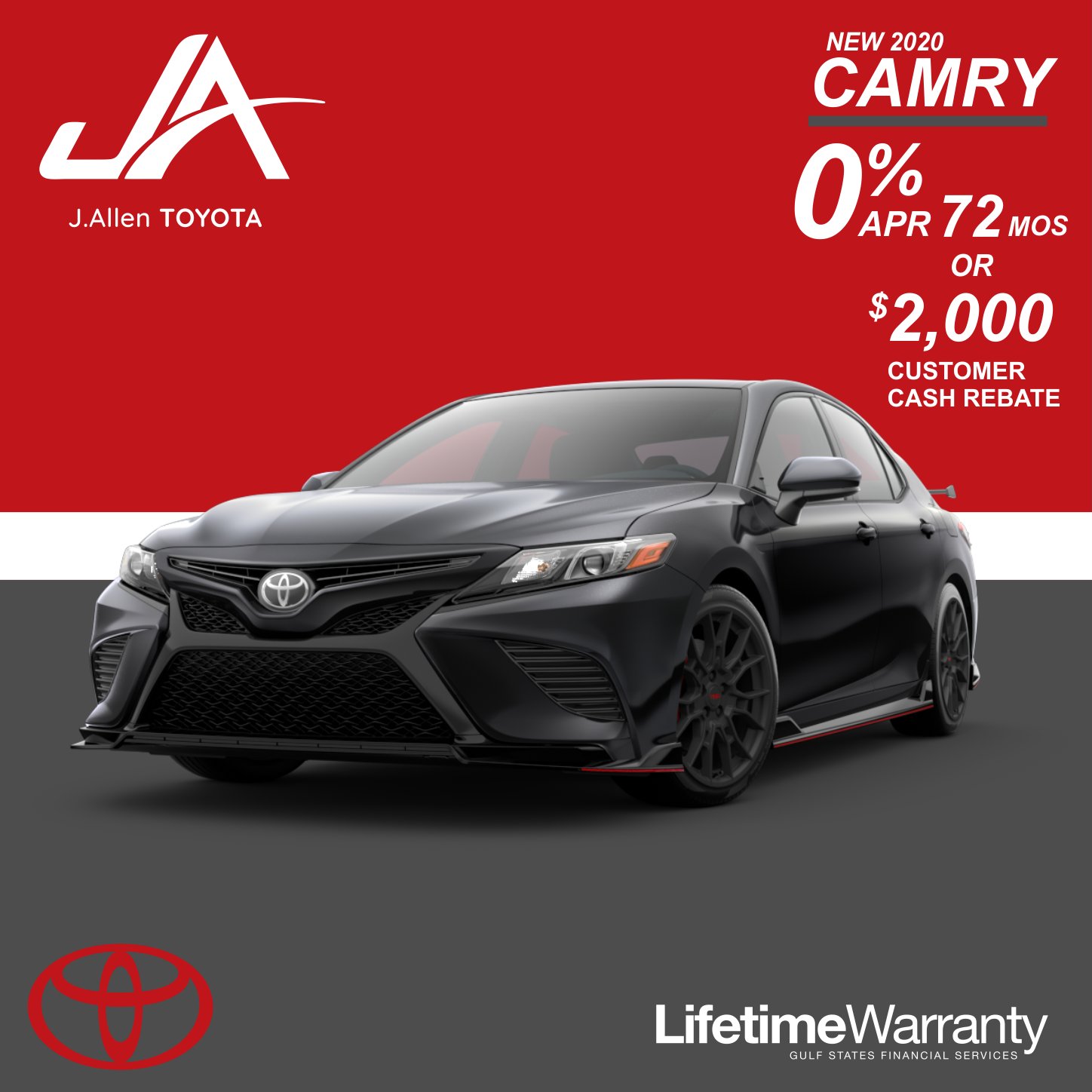New 2020 Camry 0% APR for 72 Months!