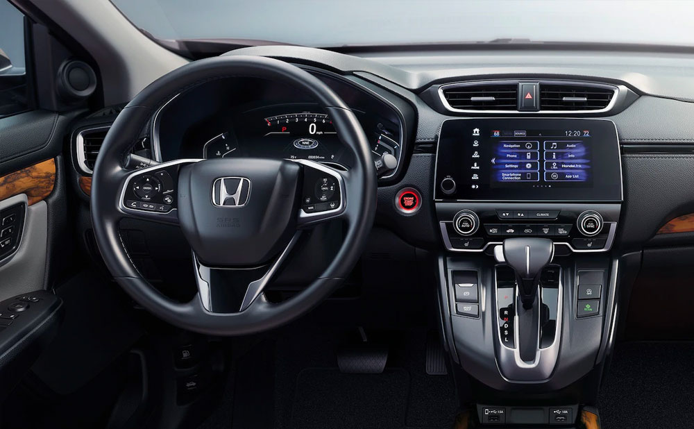 Interior of Honda CR-V and GPS screen