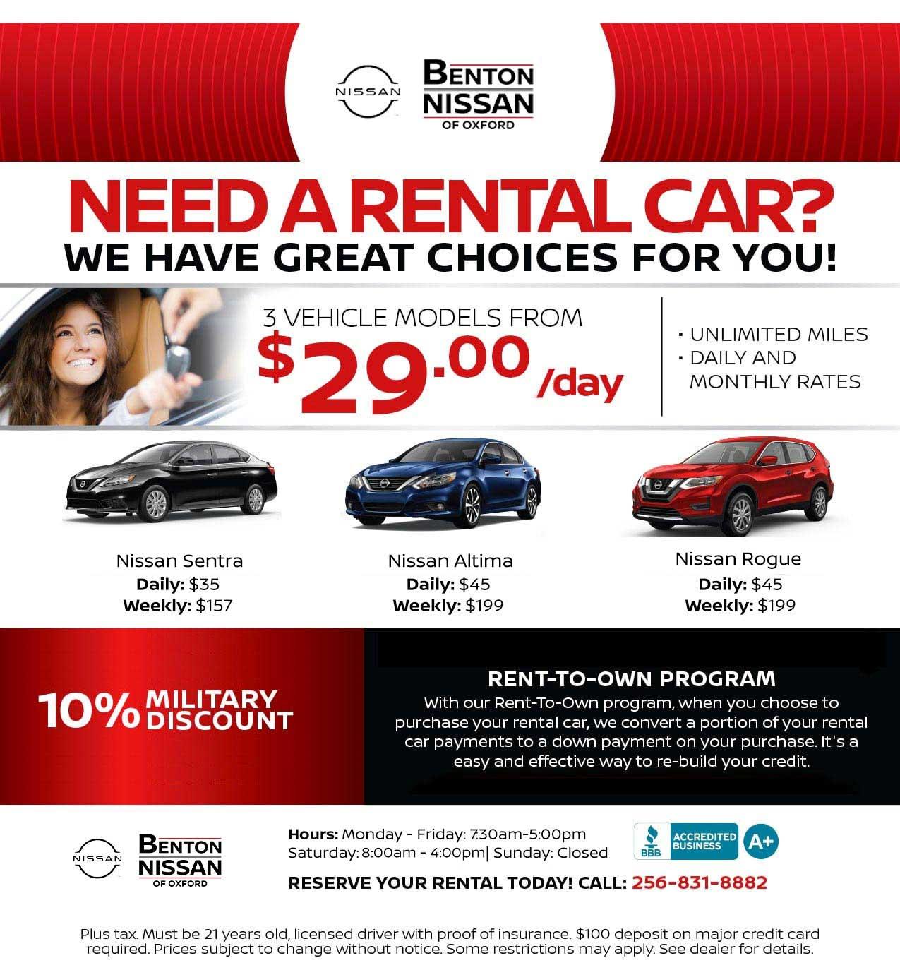 Rental Car Service Benton Nissan In Oxford Near Talladega Al