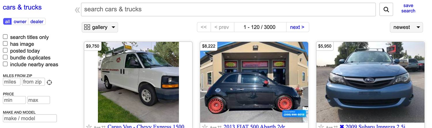 A screen capture of Craigslist