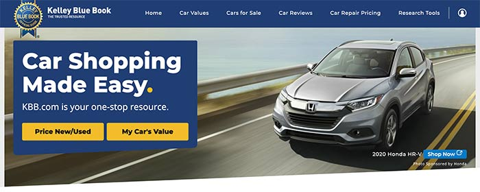 A screen capture of the Kelley Blue Book home page