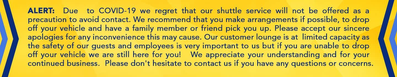 service shuttles closed