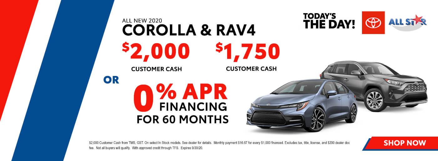 2020 Toyota Corolla and Rav4