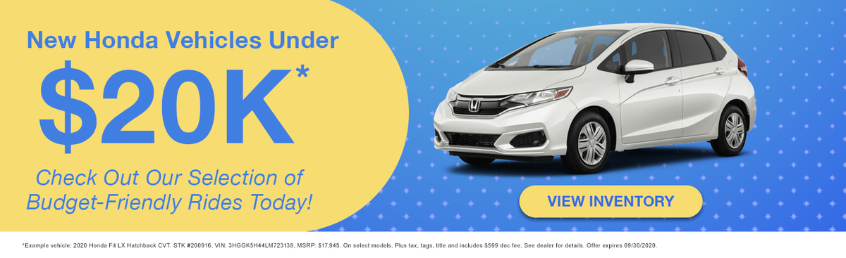 New Honda Vehicles Under $20K
